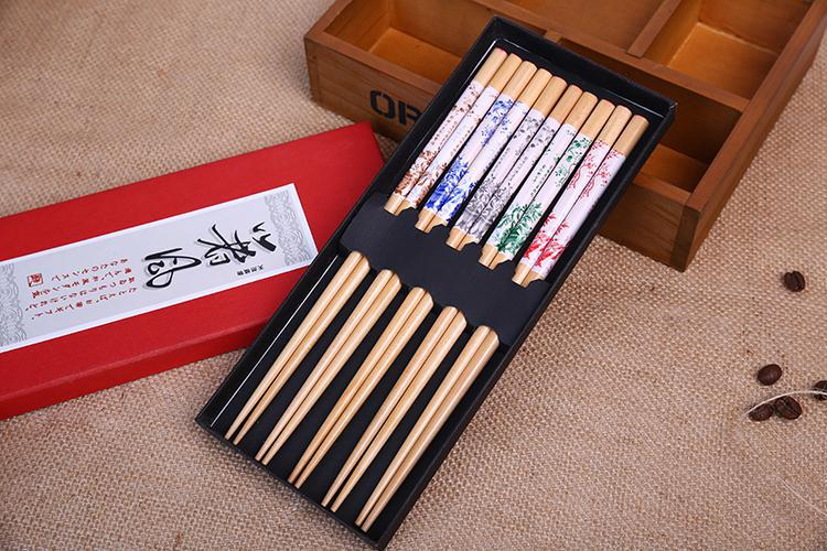 Japanese Chopsticks Wood Set Giftbox 5 Pair Flower Garden